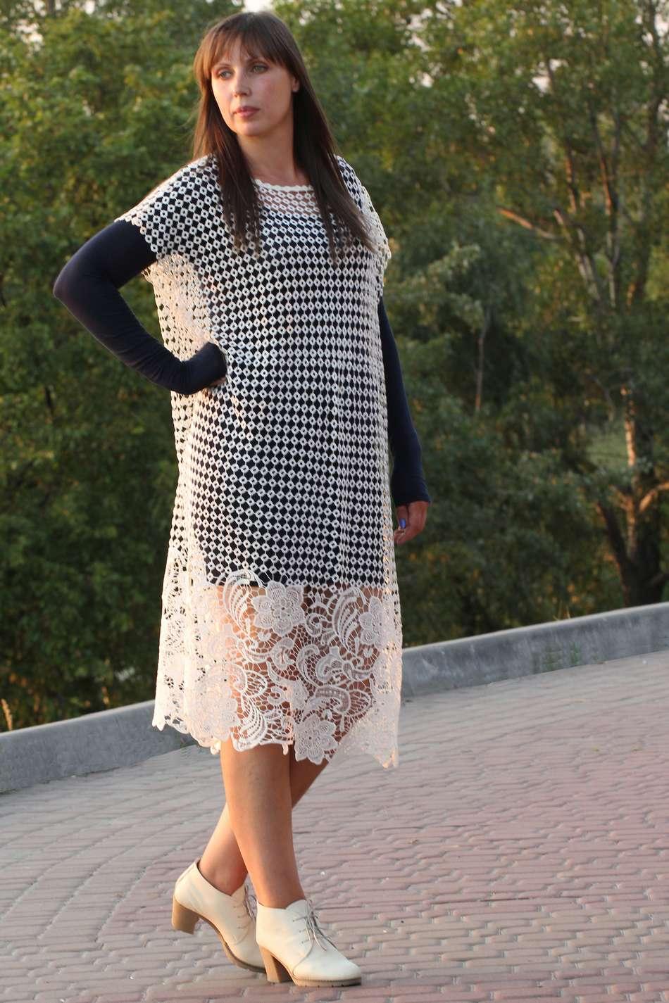 Платье кружево макраме свободное