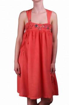 Платье  шелковое морковное