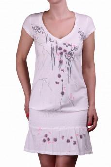 Платье белое с фиалками