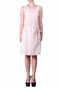 Платье бежевое с поясом
