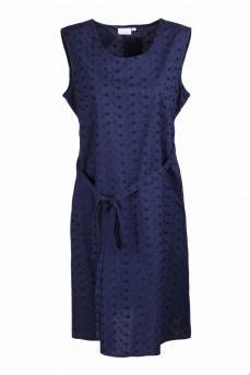 Платье темно-синее с поясом