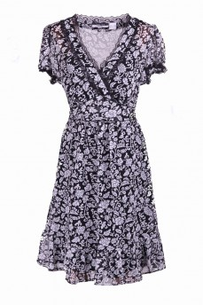 Шифоновое платье черно-белое