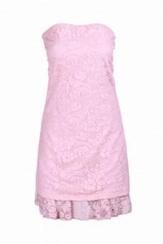 Платье бюстье розовое из кружева