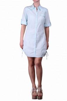 Платье-рубашка голубая