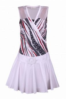 Платье с красными штрихами