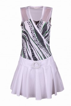 Платье с зелеными штрихами