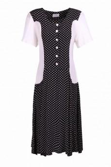 Платье черно-белое в горошек