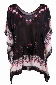 Туника - блуза черная с цветами