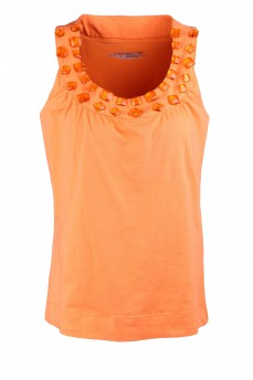 Майка оранжевая с камнями