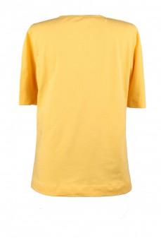Футболка желтая вырез мыс