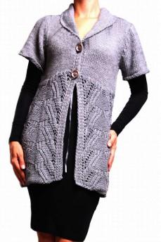 Кардиган вязанный серого цвета вязка - ажурная