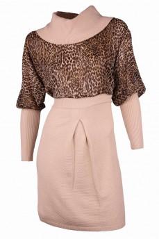 Платье с шифоном бежевого цвета