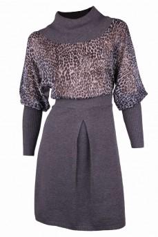 Платье с шифоном серого цвета
