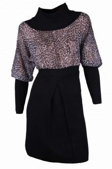 Платье черное с шифоном серый леопард