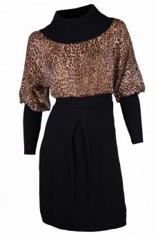 Платье черное с шифоном коричневый леопард