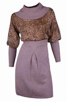 Платье с шифоном цвета капучино