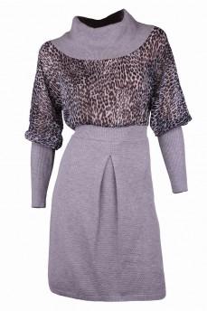 Платье с шифоном светло - серого цвета