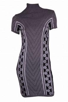 Платье туника серого цвета с геометрическим рисунком