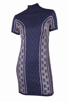 Платье туника синее с геометрическим рисунком