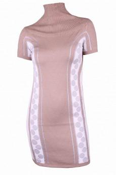 Платье туника бежевого цвета с геометрическим рисунком
