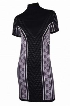 Платье туника черное с геометрическим рисунком