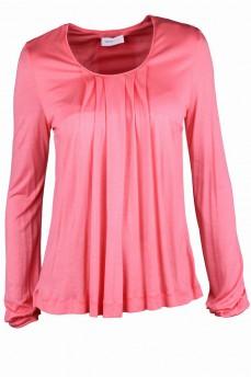 Блуза коралловая с драпировкой