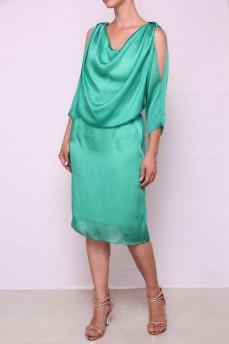 Изумрудное шелковое платье качели