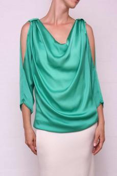 Изумрудная шелковая блуза
