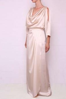 Шелковый кремовый костюм длинный