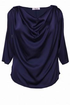 Шелковая блуза водопад синяя