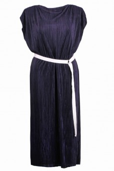 Синее платье из гафре в греческом стиле