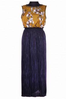 Платье из батиста ирисы и синего гофре