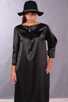 Платье черное в полоску разрезной рукав