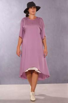 Сиреневое платье с шифоновой вставкой