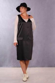 Платье-сарафан стрейч-сатин черное в полоску