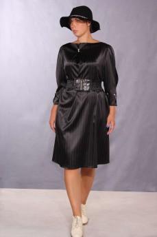 Черное в полоску платье разрезной рукав