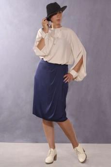 Синяя шелковая юбки на запах