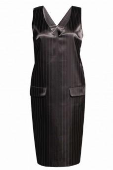 Платье-сарафан черное в полоску атлас