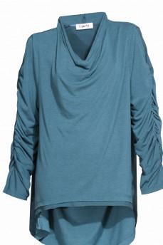 Бирюзовый блузон задрапированный рукав