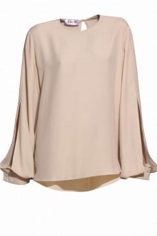 Блуза шелковая бежевая рукав с разрезом