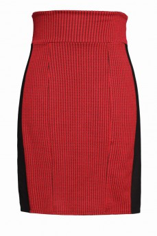 Красная юбка с лампасами  гусиные лапки