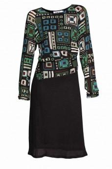 Платье геометрия зеленое  фигурный пояс