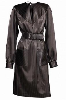 Атласное черное платье с кокеткой