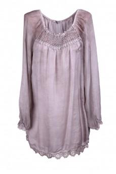 Туника -блуза с макраме из маркизета серая