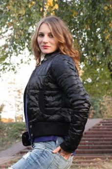 Бомбер черный куртка с трикотажным манжетом на утеплителе тинсулейт
