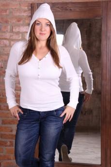 Белый пуловер с капюшоном и V-образным вырезом