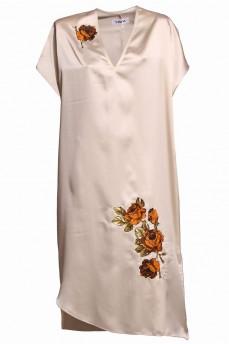 Шелковое платье апликация розы