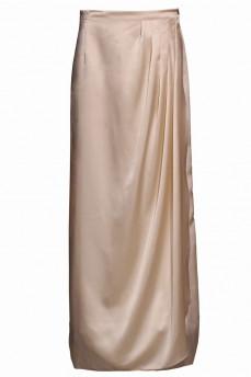 Длинная шелковая юбка бежевая