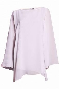 Блуза плиссе белая вырез лодочка
