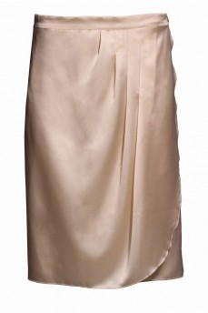 Бежевая шелковая юбка миди